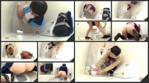 Girls doggy defecation in toilet