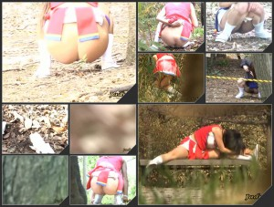 JO-03 Japanese cheerleaders caught shitting and pissing in the woods on spycam