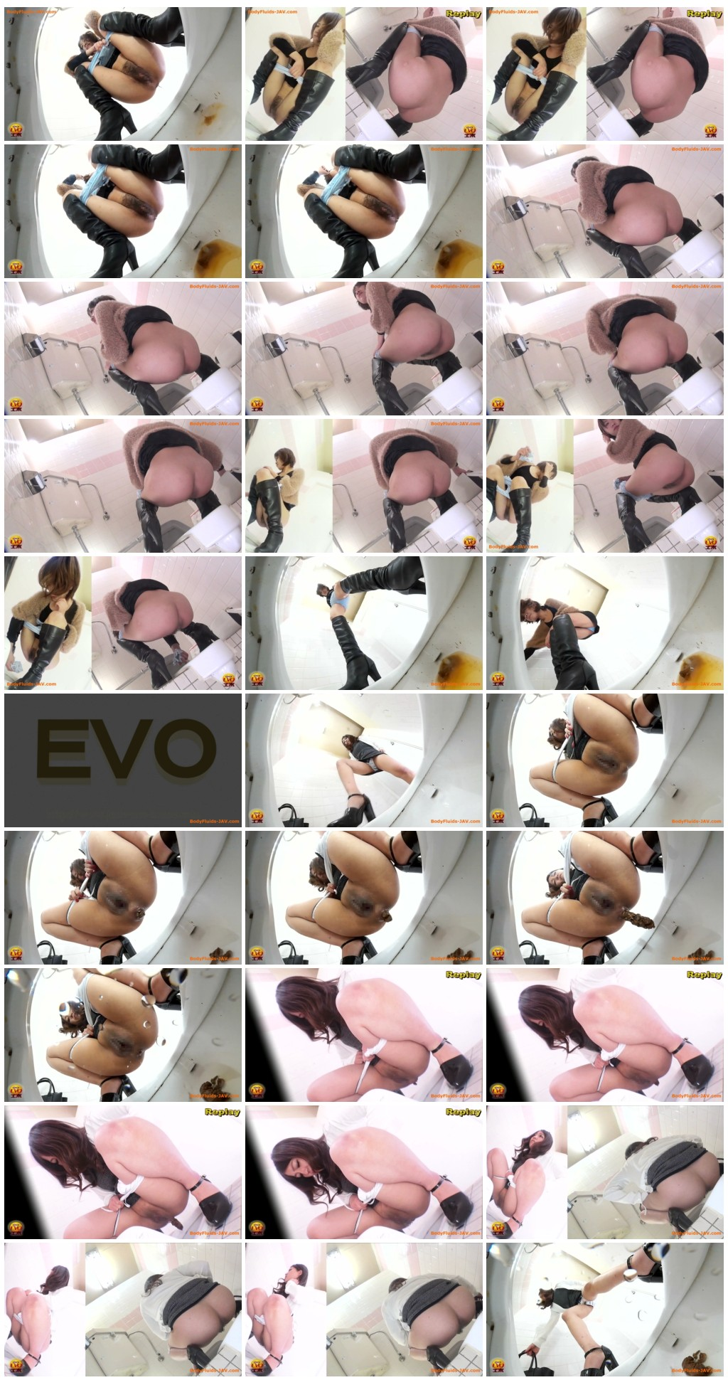 [JVC - 0032] Defecating and urinating girls in public toilet. [HD 1080p]