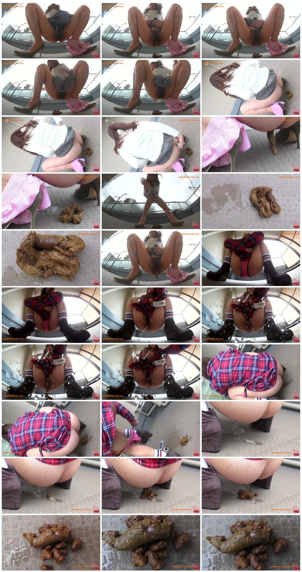 [JVC - 0097] Girls with hairy pussy defecates on staircase landing. [HD 1080p]