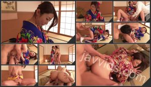 Woman in sexy kimono, Japanese blow job on cam[HD Quality]